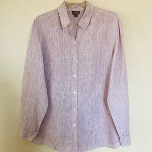 New! J.Jill 100% linen striped button down shirt M